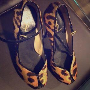 Yves Saint Laurent leopard platform Peep Toe Heels